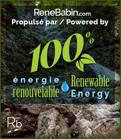 ReneBabin.com est propulsé par le l'énergie verte. / ReneBabin.com is Powered by 100% Renewable Energy.
